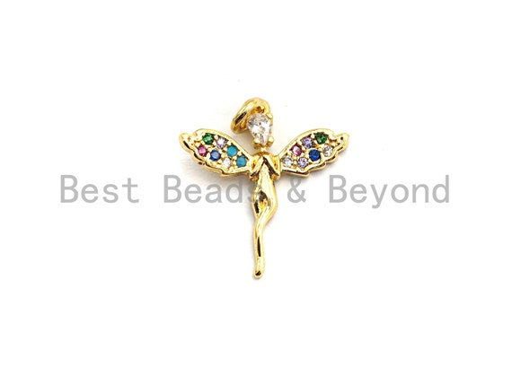 PRE-SELLING CZ Colorful Micro Pave Fairy Charm/Pendant, Fairy Shaped Pave Pendant, Gold plated, 16x17mm, Sku#F751