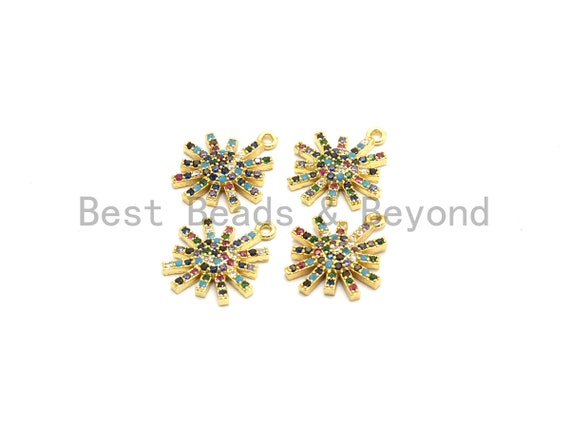 Multi-Color CZ Micro Pave Radial Flower Star Pendant, Flower Shaped Pave Pendant, Gold plated, 14x17mm, Sku#B106