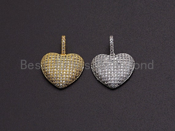 Clear CZ Micro Pave Heart Pendant/Charm, Bracelet Necklace Cubic Zirconia  Heart Pendant Charm, 18x17mm,sku#Z478