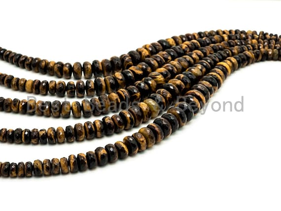 8-18mm High Quality Natural Yellow Tiger Eye Graduated,Faceted/Smooth Rondelle Gemstone Beads, 15inch strand, SKU#U202/u192