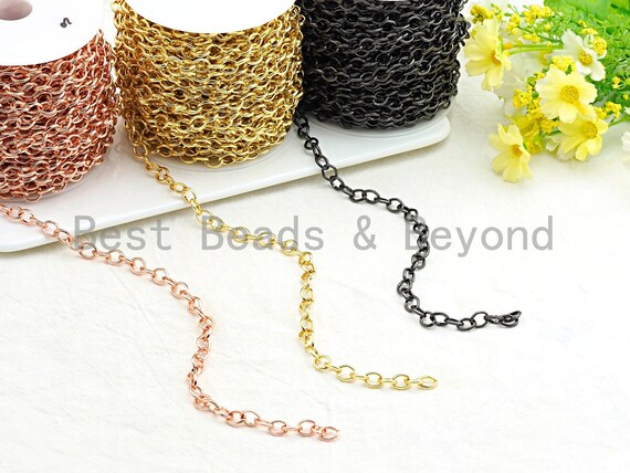 High Quality Texturized Oval Gunmetal/Gold/ Rose Gold Plated Chain, Long Oval Cable Chain, link size 10x8mm, sku#E505
