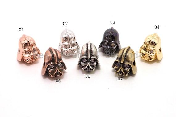 Star War Darth Vader Head Beads, Cubic Zirconia Pave Charm, Skull Mask Head Spacer Beads, Men's Bracelet Beads, 12mm, 1pc/2pcs,  sku#Y87