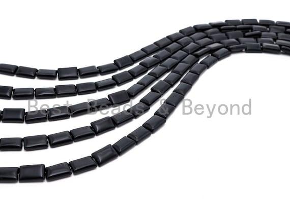 "Quality Matte Black Onyx Rectangluar Beads, 8x12mm/10x14mm Gemstones Beads, Loose Rectangle Black Onyx Beads,15.5"" Full Strand, SKU#Q36"