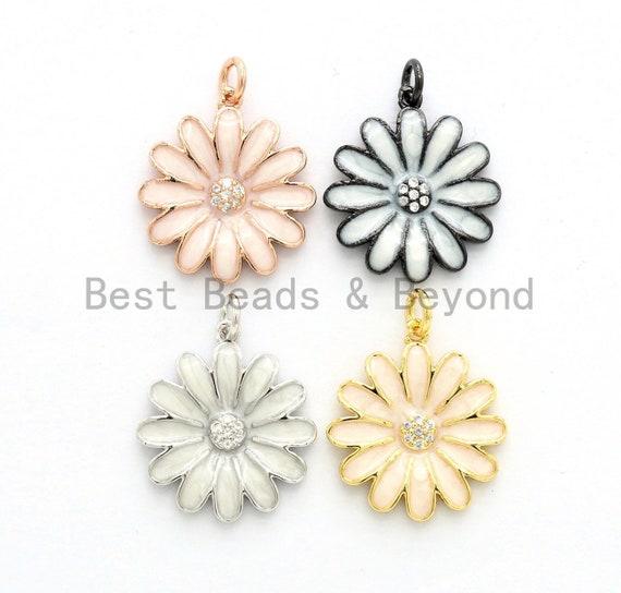 19mm Enamel Daisy flower Pendant,CZ Micro Pave Oil Drop Flower pendant,Enamel Charm,Enamel Jewelry,19x21mm,sku#F585
