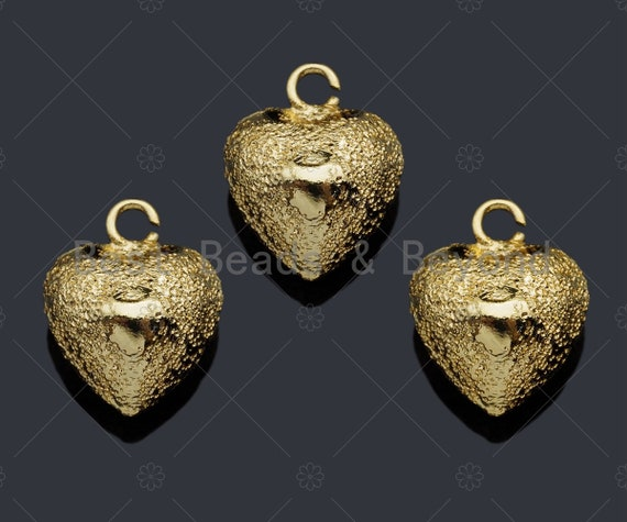 Brushed Gold Puffy Heart Charm/Pendant, Heart Shape Charm, Gold  Pendant, Gold plated charm, 12mm, Sku#Y330