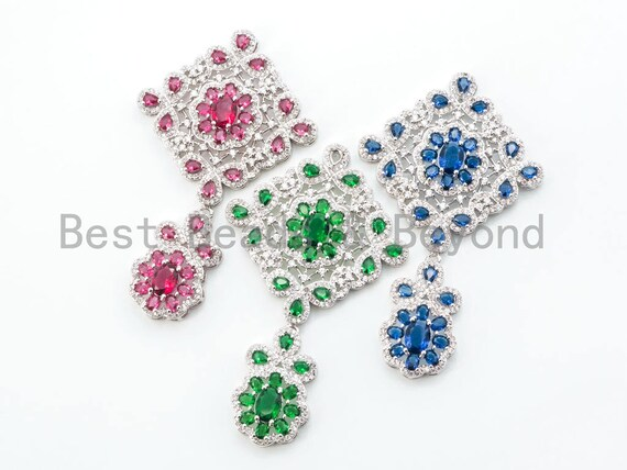 Large CZ Micro Pave Focal pendant with colored Gemstone, Focal Pendant, Tassel Head, Fancy Pendant, Wedding Jewelry, 75mm, sku# L147