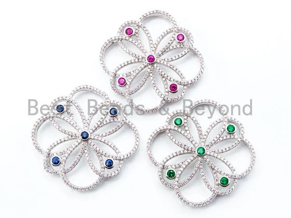 35mm CZ Micro Pave Focal Flower Pendant, Flower Focal beads, Focal Connector Beads, Fashion Jewelery Findings, SKU#L241