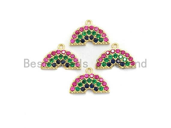 Multi Color CZ Micro Pave Rainbow Pendant, Semicircle Shaped Pave Pendant/Charm, Gold plated, 16x11mm, Sku#B110