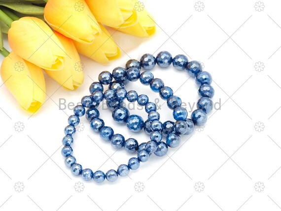 Mystic High Quantity Blue Agate Stretchy Bracelet, 8mm/10mm/12mm Elastic Fit Round Faceted, 7.5'' Agate Bracelet,Sku#EF72
