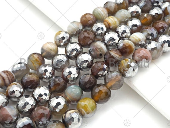 "ETSY EXCLUSIVE Natural Half Silver Plated Brown Agate Beads, 8mm/10mm/12mm Round Faceted Brown Green Beads, 15.5"" Full Strand, sku# UA124"