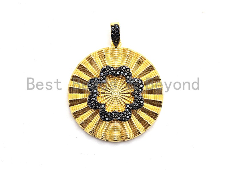 CZ Pave Pendant 36x38mm Pre-Selling CZ ClearBlack Micro Pave Round With Flower Pendant GoldRose GoldSilverGunmetal plated Sku#F772