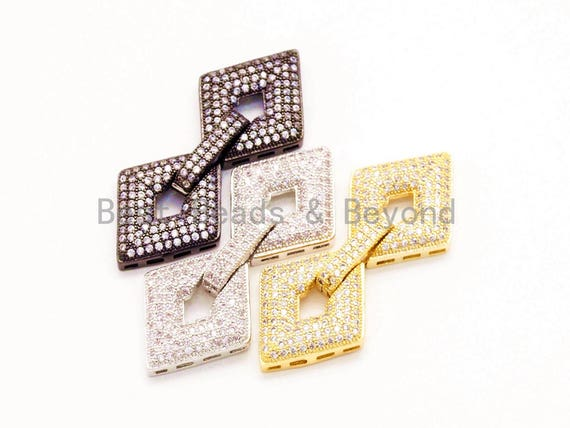 CZ Micro Pave Double Diamond Fold Over Multi-Stand Clasp, Cubic Zirconia Buckle Clasps,17x42mm,1pc, sku#H13