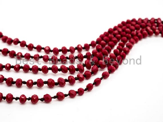 "60""/36"" Long Hand Knotted Red Color Crystal Necklace, Long Necklace, Red 2x4mm/5x8mm Rondelle Crystal Beads, Double Wrap Necklace SKU#D12"
