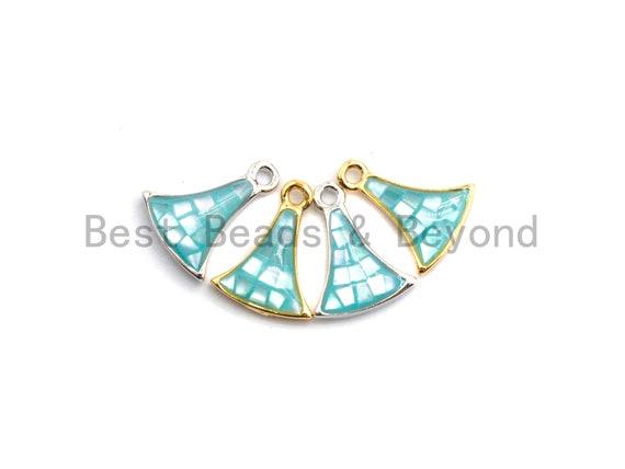 100% Natural Aqua Blue Fan-Shaped Shell Charm, Blue Color Shell Beads, Natural Shell Charms, Shell Pearl Jewelry,  9x12mm,SKU#Z302