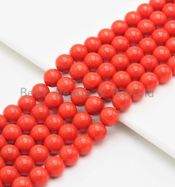 Quality Orange Mother of Pearl  Beads,6mm/8mm/10mm/12mm Round Smooth Gemstone Beads,Loose Coral Color Beads, 15.5inch strand, SKU#U422