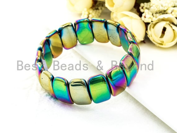 Rainbow Natural Hematite Stretch Bracelet, Metal Gemstone Beaded bracelet, Links Hematite Beads on Stretch Cord, Elastic bracelet SKU#S68