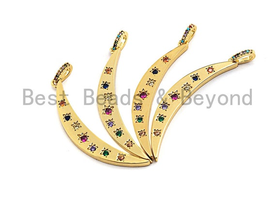 PRE-SELLING CZ Colorful Micro Pave Flat Crescent Moon Gold Pendant, Moon Shaped Pave Pendant, Gold plated, 7x49mm, Sku#F874