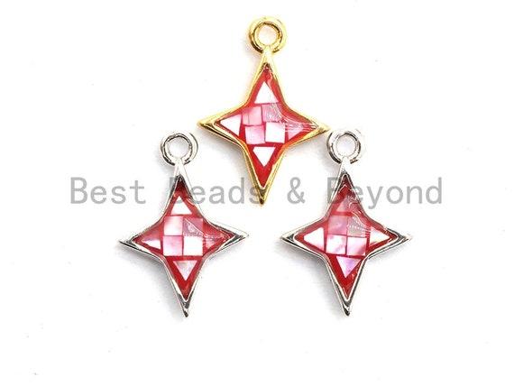 100% Natural Hot Pink Color North Star Shell Charm/Pendant, Hot Pink Shell Charm/Pendant, Natural Shell Charm, 10x14mm,SKU#Z347