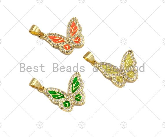 CZ Micro Pave Colorful Enamel Butterfly Shape Pendant/Charm,Cubic Zirconia Charm, Necklace Bracelet Charm Pendant,16x20mm, Sku#LK262