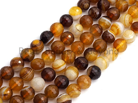 High Quality Faceted Brown Yellow Banded Agate beads, 6mm/8mm/10mm/12mm Yellow Agate Gemstone beads, 15.5inch strand, SKU#U450