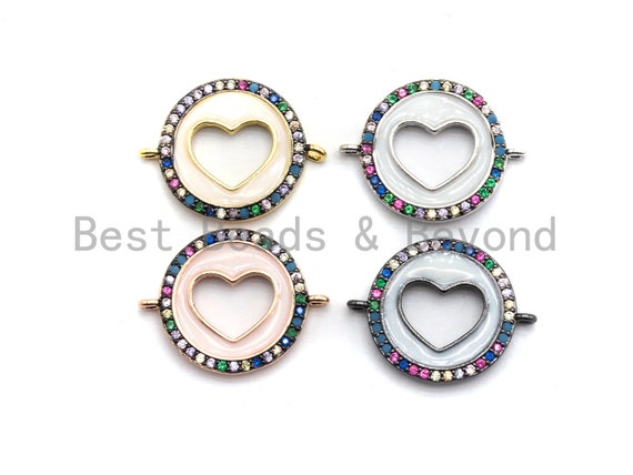 PRE-SELLING White Enamel Hollow Out Heart Round Connector, Colorful CZ Micro Pave Oil Drop Round Connector, Enamel Jewelry,16x21mm,sku#E451