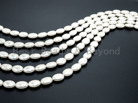 Natural AB Color Mother of Pearl beads, 7x13x18mm White Pearl Oval beads, Flat Oval Smooth Pearl Shell Beads, 16inch full strand, SKU#T63