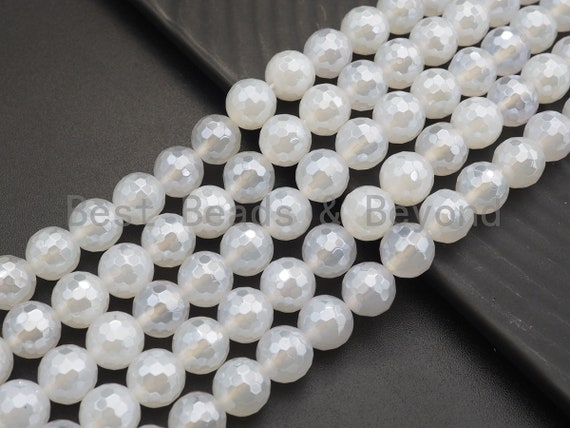 """Mystic Plated Natural White Agate Faceted beads, 6mm/8mm/10mm/12mm Round Faceted Beads, Natural Gemstone Beads, 16"""" Full strand, Sku#U757"""