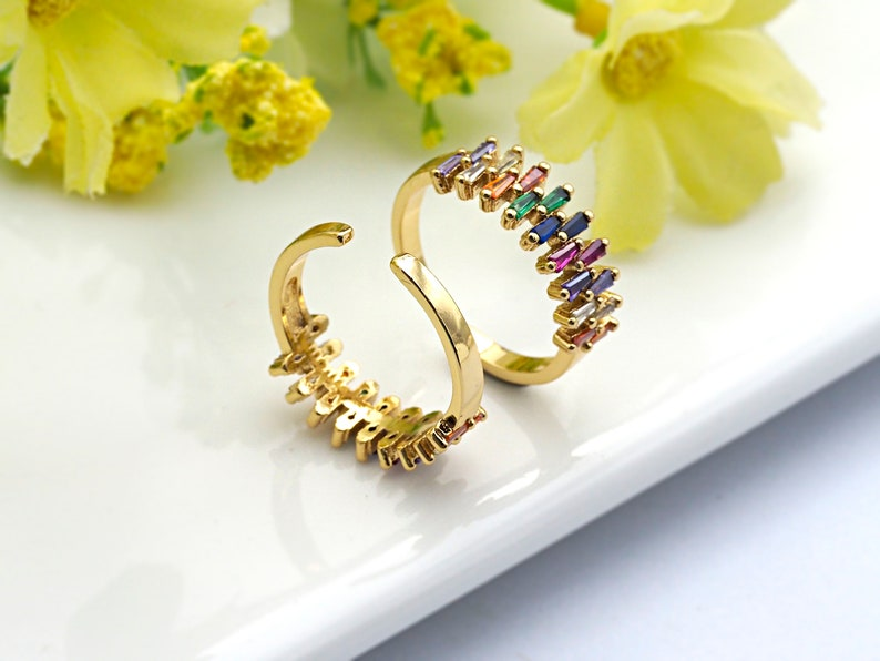 PRE-SELLING Colorful CZ Micro Pave Ring Adjustable Ring 7x20x18mm,sku#X18 Rainbow Cubic Zirconia Gold Ring
