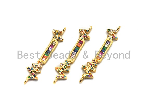 PRE-SELLING Colorful CZ Micro Pave Electro wave Long Bar Shape Connector, Cz Pave Bracelet Necklace Connector in Gold Finish,8x38mm,sku#M262