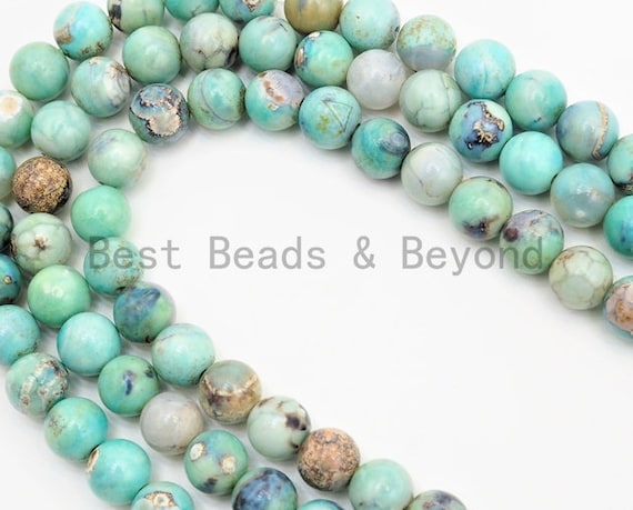 """Quality Natural Dyed Agate Round Smooth Beads,6mm/8mm/10mm/12mm/14mm beads, Blue """"Planet"""" Agate Gemstone, 15.5inch strand, SKU#U332"""