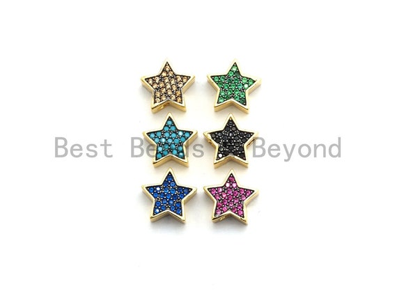 CZ Micro Pave Five Point Star Beads, Fuchsia/Turquoise/Cobalt/Black/Green/Champagne Gold  Plated Beads, Bracelet Beads, 11mm, sku#E449