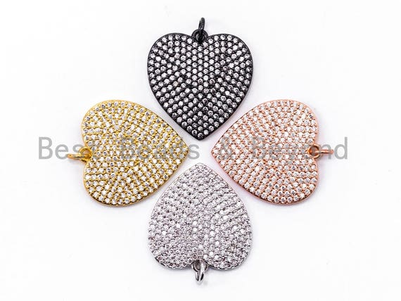 CZ Clear Micro Pave Heart Pendant/Charm, Heart Shaped Pave Charm, Gold/Rose Gold/Silver/Gunmetal plated,21x23mm, Sku#F360