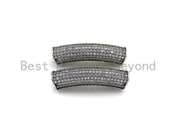 PRE-SELLING Rhodium CZ Micro Pave Half Full Pave Tube, Antique Silver Tone, Cubic Zirconia Pave Separator Tube Beads,39x10mm,sku#X128
