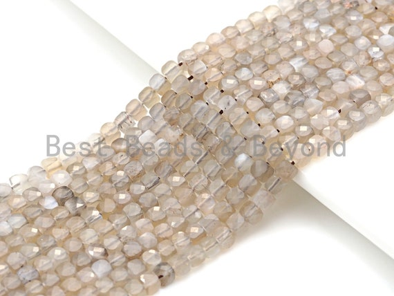 """High Quality Natural Moonstone Beads, 4mm Moonstone Cube Faceted Beads, 16"""" Full strands, sku#U782"""