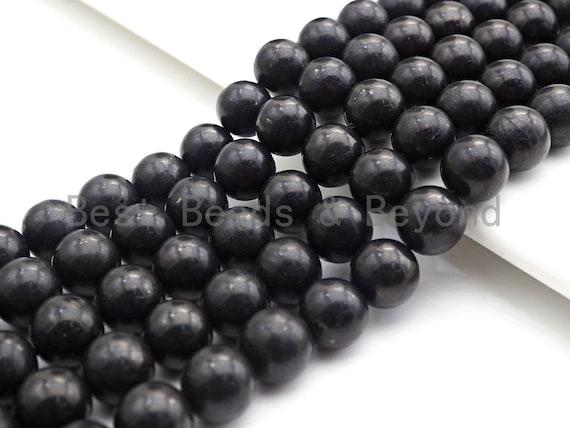 "High Quality Natural Shungite Smooth Round Beads, 4mm/6mm/8mm/10mm/12mm Shungite Beads, 15.5"" Strand, sku#U943"