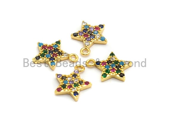 Multi-Color CZ Micro Pave Five Star Pendant, Star Shaped Pave Charm Pendant, Gold plated, 13x11mm, Sku#B109