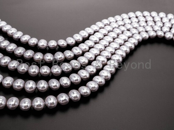 Gray Natural Mother of Pearl beads,13x15mm Pearl potato shaped beads, Loose potato shaped Smooth Pearl Shell Beads, 16inch strand, SKU#T73