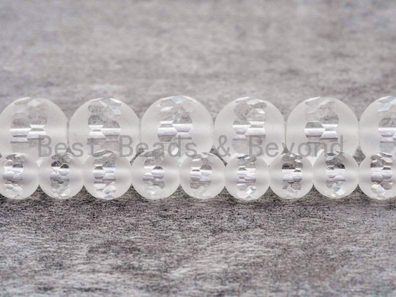 15.5inch strand Natural Clear White Matte Quartz Middle Faceted beads Matted Raw Crystal SKU#V4 6mm8mm10mm12mm Round Quartz beads