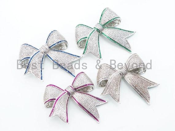 CZ Micro Pave Focal Bow Pendant, Focal Ribbon Pendant, Sapphire/Ruby/Emaerald Stone Pendant, 49mm, sku#L140