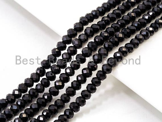 "Top Quality 64 Faceted Black Spinel Round Beads 3/4/6/8mm Gemstones Beads,Black Spinel Beads,15.5"" Full Strand,SKU#U104"