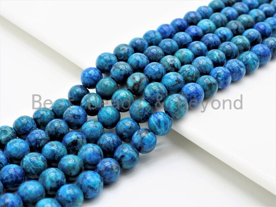 Natural Blue Africa Turquoise beads, Round Smooth 6mm/8mm/10mm/12mm Natural Gemstone beads,Turquoise Beads, 15.5inch strand, SKU#U298
