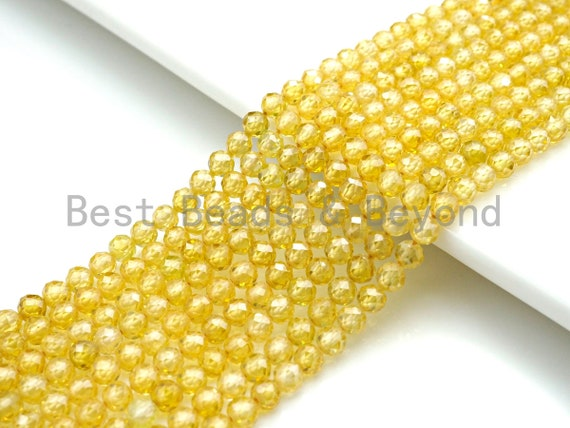 2mm/3mm/4mm High Quality Sparkly Cubic Zirconia Beads, Faceted Sparkly Yellow Color beads, 15.5inch full strand, SKU#U916