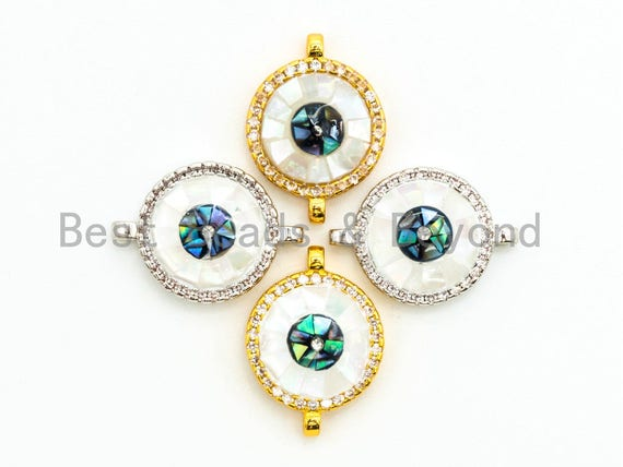 CZ Micro Pave Evil Eye Round Connector with Abalone Pearl Shell, Cubic Zirconia Space Connector, CZ Abalone Stone Charm 13x17mm, 1pc,SKU#Z29