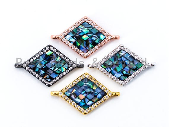 CZ Micro Pave Abalone Diamond Shape Connector,Gold/Rose Gold/Gunmental/Silver CZ Pave Charm, Abalone Stone Beads, 14x23mm,1pc/2pcs, sku#E313