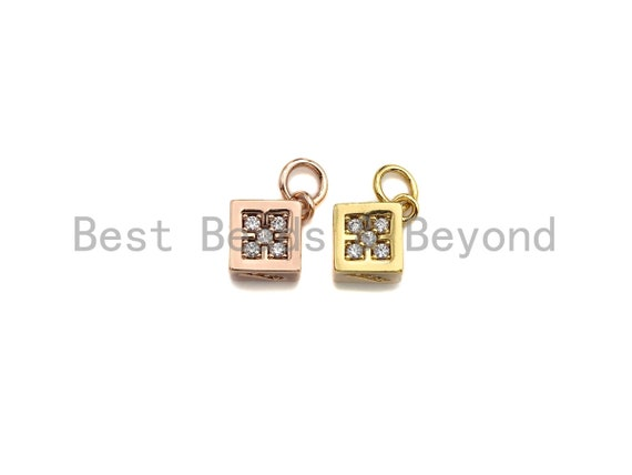 PRESELLING CZ Micro Pave Tiny Dice Charm with Quatrefoil Patten, Cubic Zirconia Cube Charm, Gold/Rose Gold, 11x13mm, SKU#Y236