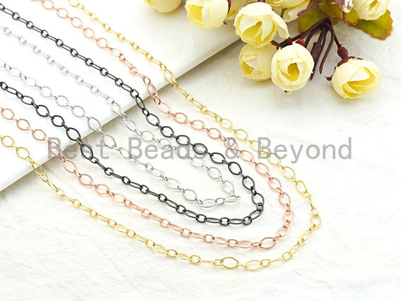High Quality Texturized Oval Gunmetal/Gold/ Rose Gold Plated Chain, Long Oval Cable Chain, link size 5x8mm, sku#E501