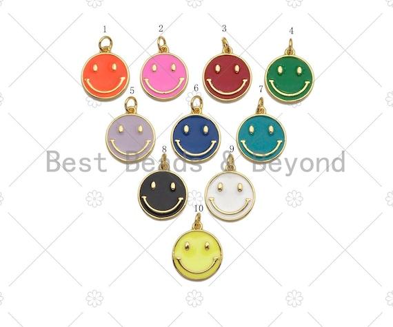 Enamel Colorful Cute Smiley Face Shape Pendant,Enamel Charm,Enamel Jewelry Findings,15x17mm,Sku#LK275