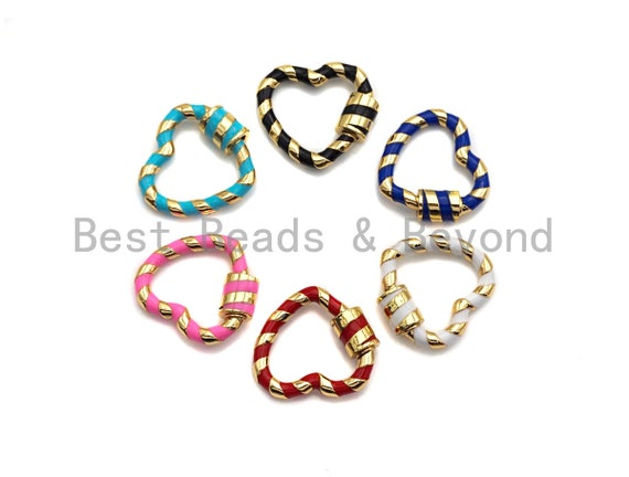 Colorful Enamel Pave Heart Shape Clasp, Gold Plated Screw Clasp, Carabiner Clasp, 21x22.6mm, sku#K77