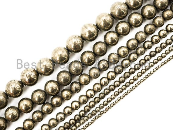 Quality Natural Pyrite beads, 2mm/3mm/4mm/6mm/8mm/10mm/12mm/14mm pyrite ball beads,Round Smooth Gemstone Beads, 15inch strand, SKU#W1