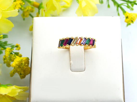 PRE-SELLING Colorful Baguette CZ Micro Pave Rainbow Ring, Gold Ring, Minimal Jewelry,5x21x17mm,sku#X43